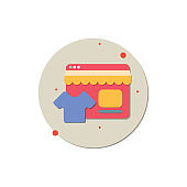 online store icon, Online shopping, Store, Garage, Supermarket, creative icon vector concept,  trending icon, new generation vector