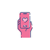 Dating apps Icon, Love icon vector, Mobile App, Internet Dating, Dating, Mobile Phone, Telephone icon, Valentines Day icon, valentines day background, flat icon