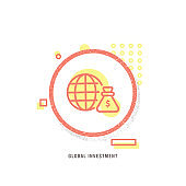 GLOBAL INVESTMENT icon, creative icon, icon unique concept, new generation, modern icon, Globe Finance, Currency, Technology, Coin Bank, Coin, World Map