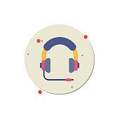 headphone vector icon, Headphones, Audio Equipment, Equipment, Listening, Shadow, Music, Retro Style, Icon, Listening