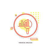 FINANCIAL ANALYSIS icon, creative icon, icon unique concept, new generation, modern icon, Analytics search, Research, Advice, Analyzing, Apartment