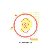HEALTHY LIFESTYLE icon, creative icon, icon unique concept, new generation, modern icon, Pharmacy, Blood, Computer Monitor, Human Heart, smart watch