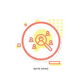 WE'RE HIRING icon, creative icon, icon unique concept, new generation, modern icon, Recruitment, Sign, Advertisement, Illustration