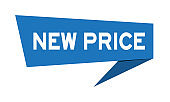 Blue paper speech banner with word new price on white background (Vector)