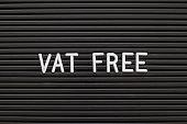 Black color felt letter board with white alphabet in word vat free background