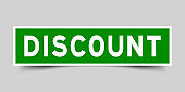 Square green color sticker with word discount on gray background