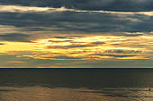 Landscape of sea with dramatic sky when the sunset