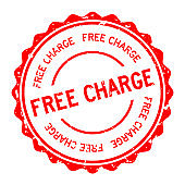 Grunge red free charge word round rubber seal stamp on white background