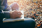 men write notes Nature trails, mountains, forests.