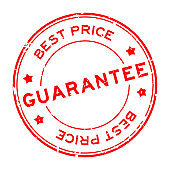 Grunge red best price guarantee word round rubber seal stamp on white background