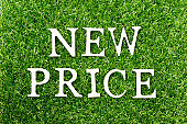 Wood alphabet letter in word new price on green grass background