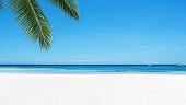 Tropical paradise white sandy beach copy space scene