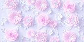 Pink Paper flowers background, floral papercraft wallpaper, wedding or Valentines day greeting card.