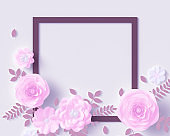 Floral design elements around frame, pink flowers and paper cut leaves, flowering romantic template with copy space, 3d rendering
