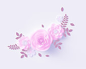 Floral bouquet design element, pink rose with paper cut leaves on white wall background, 3d rendering