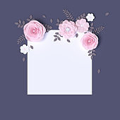 Pink and white paper flowers decoration, Mothers day greeting template,