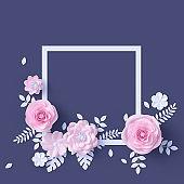 Wedding pink floral decoration frame, paper flowers isolated design element, springtime background