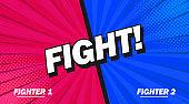 Fight background poster comic speech bubble. Vector illustration