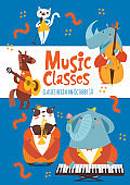 Vector music classes or lessons poster design with cute animals playing music