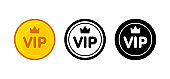 Vip icon set: golden color, black and white, outline. Isolated vector sign symbol