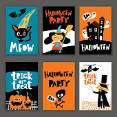 Set of vector Happy Halloween posters in cartoon flat style