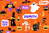 Vector seamless pattern for Halloween with funny cartoon characters.