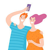 Vector illustration with happy couple takes selfie.