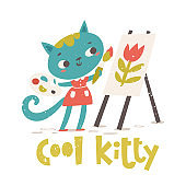 Cool Kitty poster with cat with an umbrella