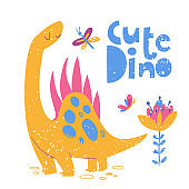 Kids style poster with cute Dinosaur stegosaurus and lettering.