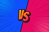 Blue and Red Fighter Background Versus Screen, Vector Illustration