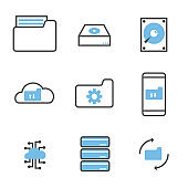 set of data storage and processing icons