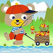 little bear get a lot of fish from the fishing, kids t shirt design, vector cartoon illustration