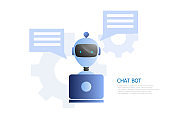 chat bot concept, robot use laptop to chatting and working