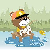 bear fishing time, vector cartoon illustration