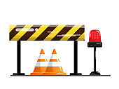 road and street barrier, traffic warning sign