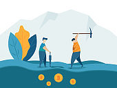 man mining for bitcoins crypto currency concept