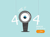 oops 404 error page not found vector flat design