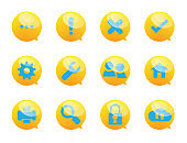 speech bubble and system services icons