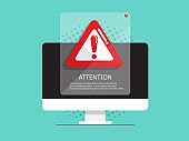 computer with attention, warning sign