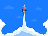 rocket launch business startup concept