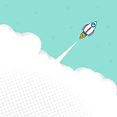 rocket launch with space flat design vector background