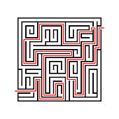 Education logic game labyrinth for kids. Find right way. Isolated simple square maze black line on white background.  With the solution.