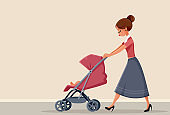 Young Mother Pushing Baby Stroller Vector Illustration