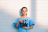 Cool Actress Holding Movie Clapper Ready to Film