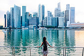 Young fashionable solo traveler woman in Singapore