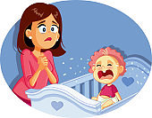 Baby Crying Next to Worried Mother Vector Illustration