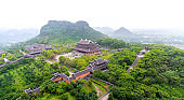Landscape of Bai Dinh temple complex from above is one of the biggiest and largest temple Southeast Asia in Ninh Binh, Vietnam.