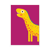 vector illustration. nursery card with cute dinosaur Diplodocus. For kids prints, postcards, wall art.