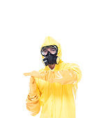Man in protective clothing doing time out gesture