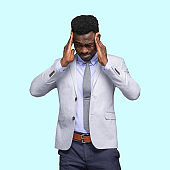 Front view / looking at camera / waist up / portrait / one man only / one person of adult handsome people curly hair / short hair african ethnicity / african-american ethnicity / generation z male / young men business person / businessman standing